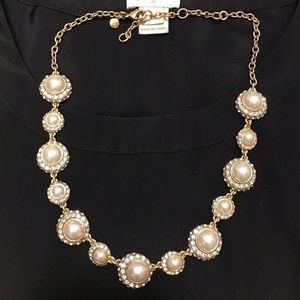 JCrew Factory classic pearl and lace necklace